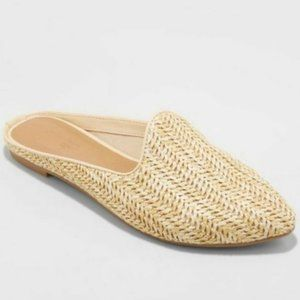 UNIVERSAL THREAD Violet Woven Tan Slip On Mules